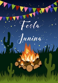 Festa junina poster with campfire, flags garland, grass, cactus and text on starry night.