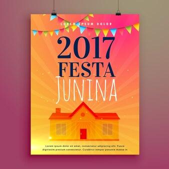 Festa junina poster with hacienda