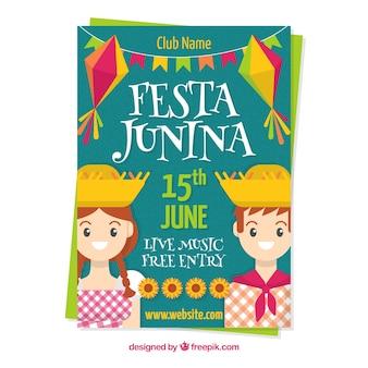 Festa junina poster with happy couple
