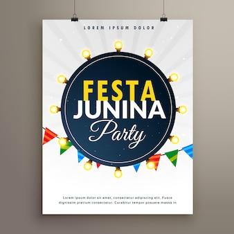 Festa junina poster with light bulbs