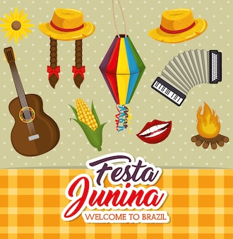 Festa junina related objects over dotted background vector illustration