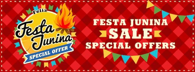 Festa junina sale. beautiful background with fireworks a garland