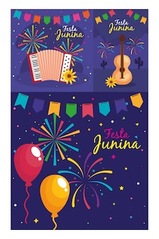 Festa junina set cards, brazil june festival with decoration  illustration