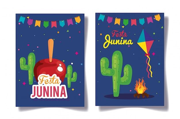 Festa junina set cards, brazil june festival with decoration  illustration