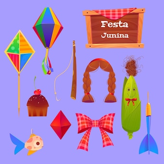 Festa junina set with corn and paper lantern