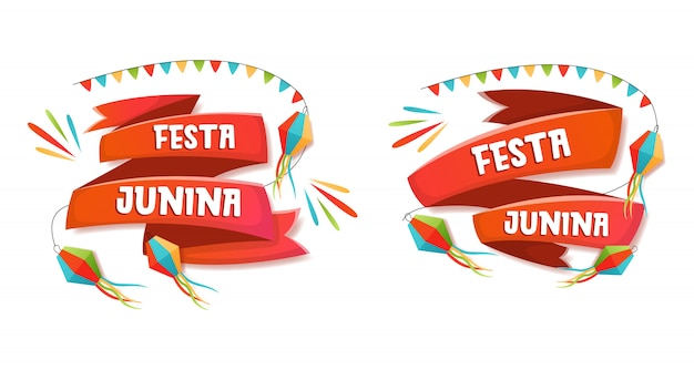 Festa junina title on ribbon collection