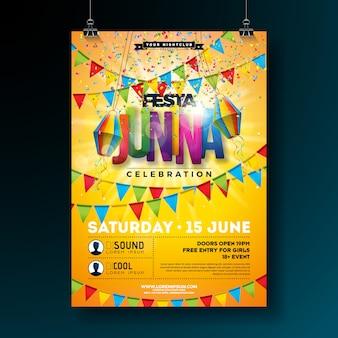 축제 junina 전통적인 브라질 파티 전단지 또는 포스터 템플릿 디자인