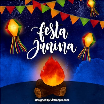 Festa junina watercolor background with bonfire