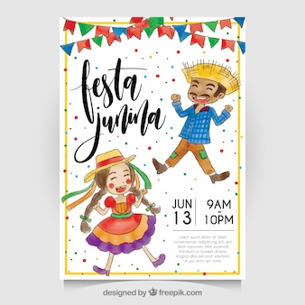 Festa junina watercolor invitation with nice characters
