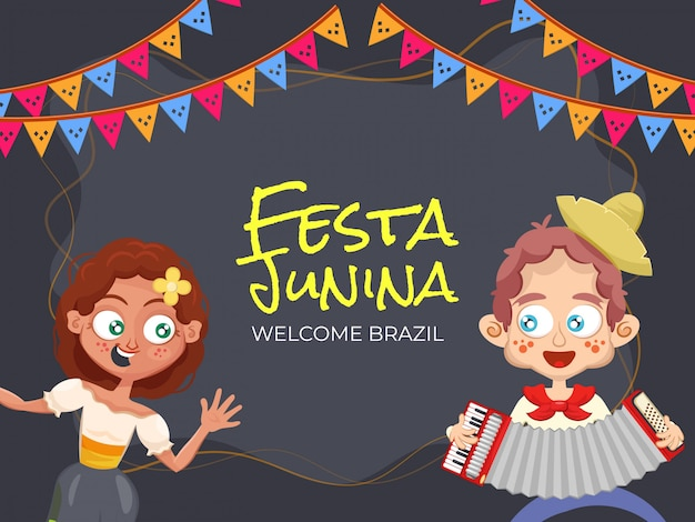 Festa junina, welcome brazil. party illustration with cute couple