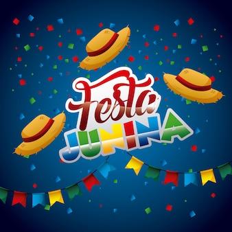 Festa junina wicker hats confetti garlands poster