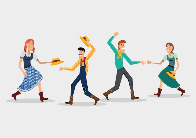 Festa junina with cartoon couples dancing a traditional dance over white background