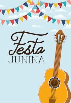 Festa junina with guitar instrument