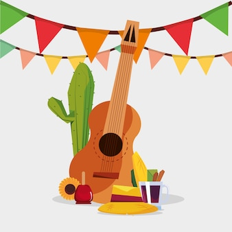 Festa junina with guitar and related icons over white background