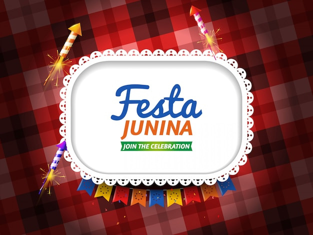 Festa junina with pennants and fireworks