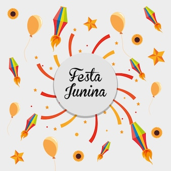 Festa junina with related icons around over white background