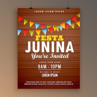 Festa junina wooden background poster