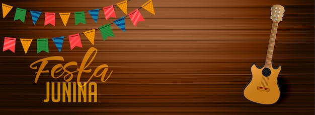Festa junina wooden banner with gutar