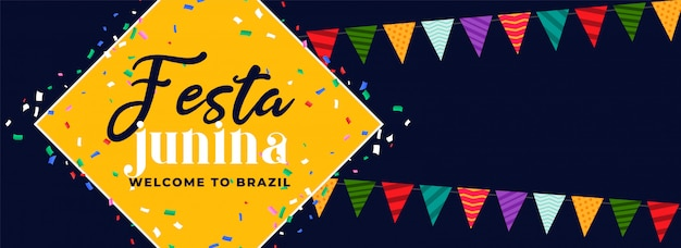 Festa junina веселый карнавальный дизайн баннера