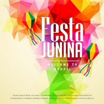 Красочный festa junina приветствие фон
