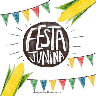 Акварели festa junina фон с гирляндами и кукурузы