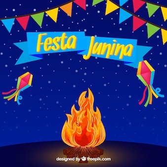 Костер ночью фон festa junina