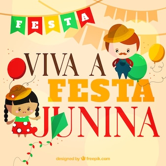 Festa junina фон с хорошими персонажами