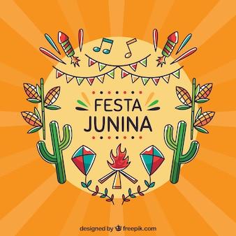 Festa junina фон с различными элементами