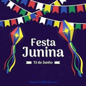 Festa junina фон с красочными вымпелами