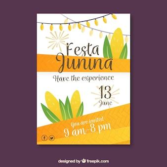 Festa junina приглашение на постер с кукурузой в плоском стиле