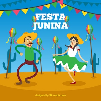 Festa junina фон с людьми, танцующими