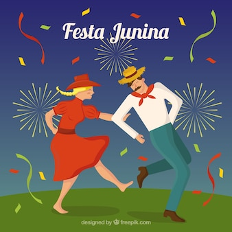 Festa junina фон с парой танцев