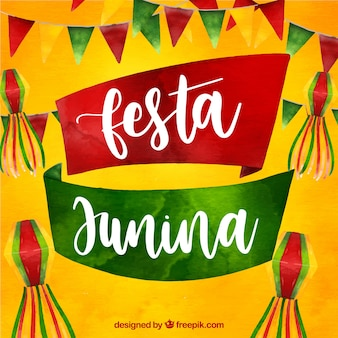 Festa junina фон с акварельными элементами