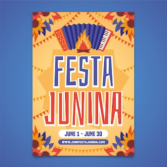 Шаблон festa junina для дизайна плаката