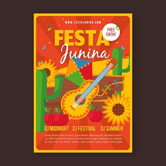 Шаблон плаката festa junina плоский дизайн