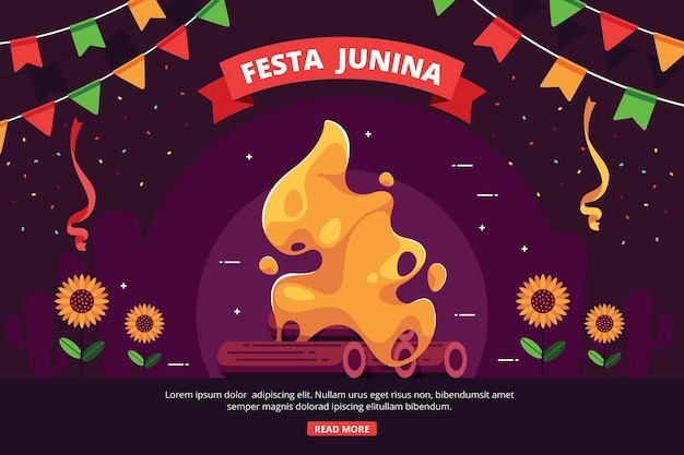 Плоский дизайн фона festa junina