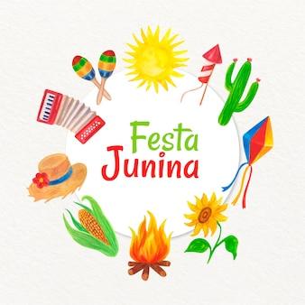 Иллюстрация festa junina с коллекцией элементов