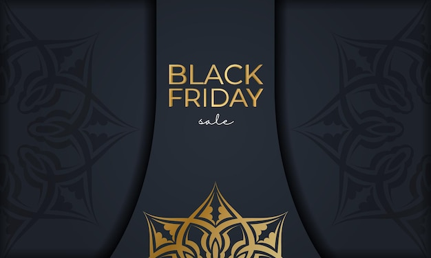 Festival advertising for black friday sales dark blue with luxurious gold pattern