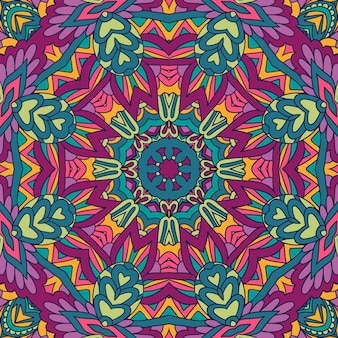 축제 예술 벡터 원활한 패턴 만다라입니다. 민족 기하학적 인쇄.