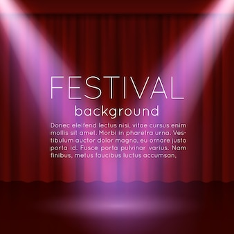 Festival background with empty scene with spotlights