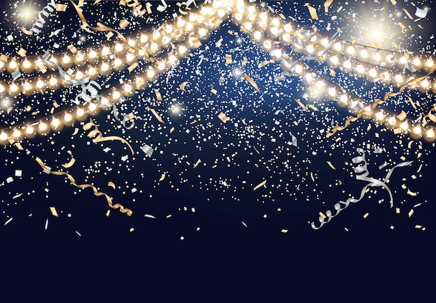 Festival background with string lights and confetti