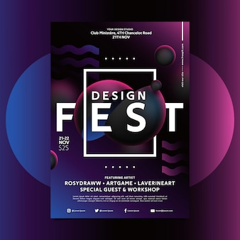 Festival design poster template with creative shapes
