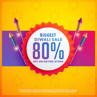 Festival discount and sale banners for diwali with crackers