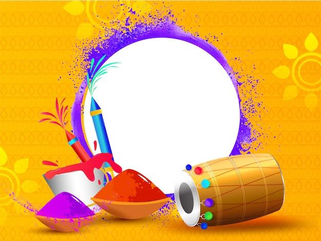 Festival elements illustration on orange background with space f