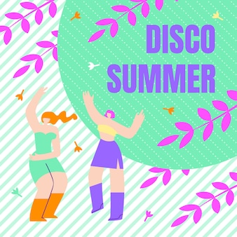 Festival flyer inscription disco summer, flat.