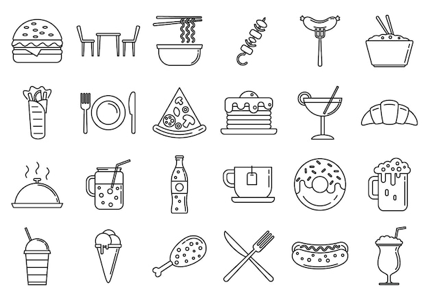 Festival food courts icons set, outline style