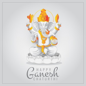 Festival of ganesh chaturthi greeting card with statue of lord ganesha