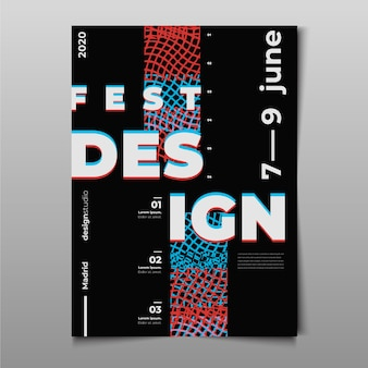 Festival glitched design poster template