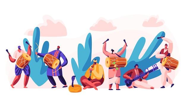 인도의 축제. 시골에서 하루를 축하하십시오. 캐릭터는 mridangam의 dotara, chitravina 및 drummer에서 클래식 전통 음악을 연주합니다. snake charmer playing pungi. 플랫 만화 벡터 일러스트 레이션