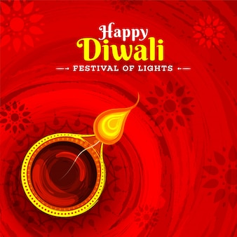 Festival of lights happy diwali greeting card design with illust